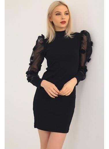 Emjey Kolları Organze Çiçek Hakim Yaka Elbise Siyah